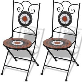 Set de 2 scaune din mozaic, culoare teracota și alb