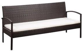 44180 vidaXL Canapea de grădină cu 3 locuri, cu perne, maro, poliratan