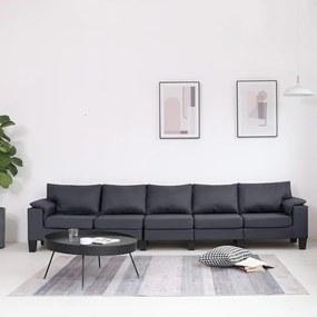 287101 vidaXL Canapea cu 5 locuri, gri închis, material textil