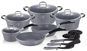 Set oale si tigai marmorate (15 piese) din aluminiu forjat Gray Stone Touch Line Berlinger Haus BH 1173N