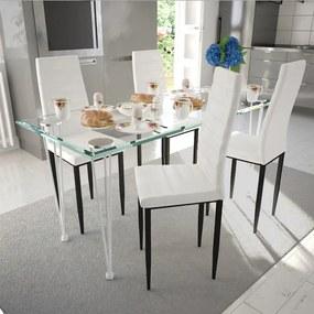 271691 vidaXL Set de sufragerie cu scaune linii suple 4 buc. alb și masă de sticlă