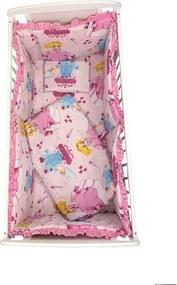 Croitoria Noastra - Lenjerie de patut bebelusi 5 piese cu aparatori laterale pe burete CN Printese la castel roz