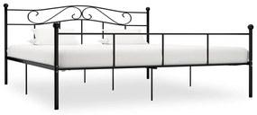284529 vidaXL Cadru de pat, negru, 200 x 200 cm, metal