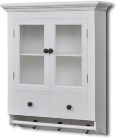 Dulap bucătărie din lemn suspendat cu uși din sticlă