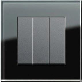 Întrerupător triplu GIRA Esprit antracit cu ramă simplă sticlă neagră