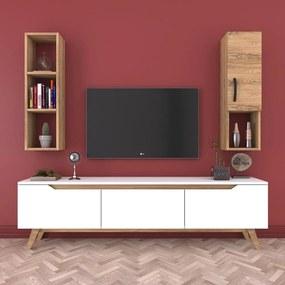 Set comodă TV și raft de perete cu 1 ușă Wren White, natural-alb