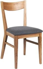 Scaun din lemn stejar cu șezut gri deschis Rowico Dylan, maro