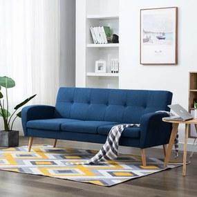 246995 vidaXL Canapea de 3 persoane, material textil, albastru