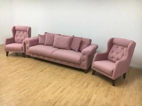 Set canapea extensibilă cu 2 fotolii roz - model RIVA