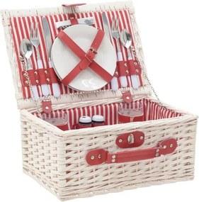 Coș picnic cu veselă InArt, 38 x 26 cm, roșu - alb