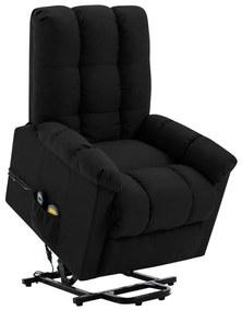 321392 vidaXL Fotoliu de masaj rabatabil vertical, negru, material textil