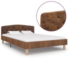 284938 vidaXL Cadru de pat, maro, 120 x 200 cm, piele întoarsă ecologică
