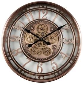 Ceas de perete metal si sticla auriu 54cm