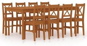 283386 vidaXL Set mobilier de bucătărie, 9 piese, maro miere, lemn de pin