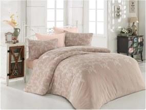 Lenjerie de pat cu cearșaf Permento Cream, 200 x 220 cm