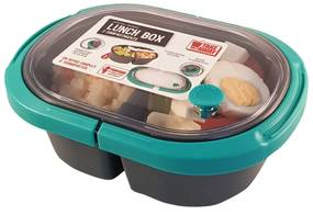 Cutie alimente LUNCH BOX ovala, Verde, 2 compartimente,800 ml