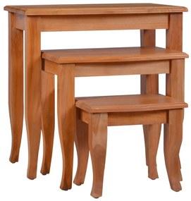 288855 vidaXL Mese laterale, 3 buc., lemn masiv de mahon