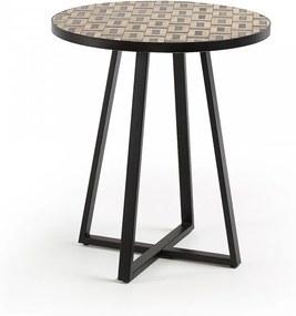 Masa rotunda cu blat din marmura maro 70 cm Cocktail La Forma