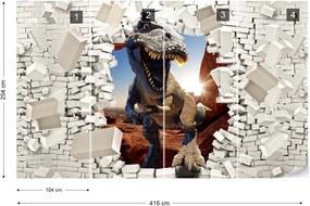 Fototapet GLIX - 3D Dinosaur Brick Wall 2 + adeziv GRATUIT Tapet nețesute - 416x254 cm