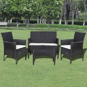 Set mobilier de grădină din poliratan format din 7 piese, Negru