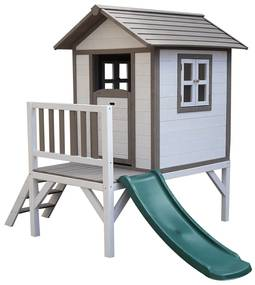 Căsuţă pentru grădină din lemn pentru copii cu tobogan, gri / alb, MAILEN