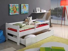 Pat cu șină de pat-alb Guardy Boulder White 180x80 cm pat fără spațiu de depozitare