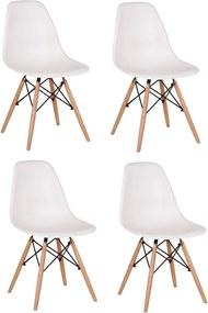 Set 4 scaune living Lunaria alb