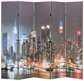 245863 vidaXL Paravan cameră pliabil, 200x170 cm, New York pe timp de noapte