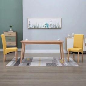 249033 vidaXL Scaune de sufragerie, 2 buc., galben, material textil