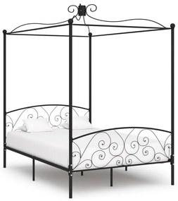 284476 vidaXL Cadru de pat cu baldachin, negru, 120 x 200 cm, metal