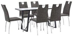 3050075 vidaXL Set mobilier de bucătărie, 7 piese, maro, piele ecologică