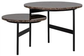 Set 2 masute Dalton, Marmura Fier, Negru Maro, 45 34x60 45x60 45 cm