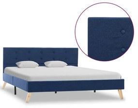284825 vidaXL Cadru de pat, albastru, 140 x 200 cm, material textil