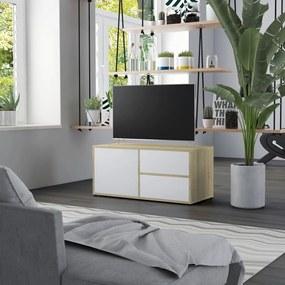 801855 vidaXL Comodă TV, alb și stejar Sonoma, 80 x 34 x 36 cm, PAL