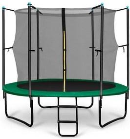 Klarfit Rocketstart 250, 250 cm trambulină, plasă internă de securitate, scară largă, verde