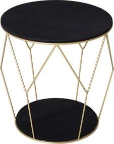 Homcom Masuta Rotunda Design Geometric din Metal si MDF Negru si Auriu