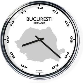Ceas de birou (deschis sau întunecat) - București / România, diametru 32 cm | DSGN, Výběr barev Světlé