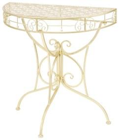 Masă laterală stil vintage semirotundă metal 72x36x74 cm auriu