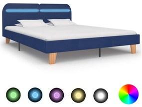 280904 vidaXL Cadru de pat cu LED-uri, albastru, 160x200 cm, material textil