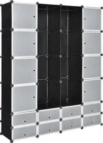 [neu.haus]® Dulap haine Modell 6,180 x 145 x 37 cm, 16 compartimente depozitare, plastic, negru/alb/transparent
