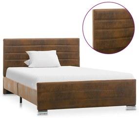286801 vidaXL Cadru de pat, maro, 120 x 200 cm, piele întoarsă ecologică