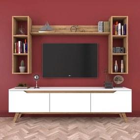 Set comodă TV cu 3 rafturi de perete Wren, natural-alb