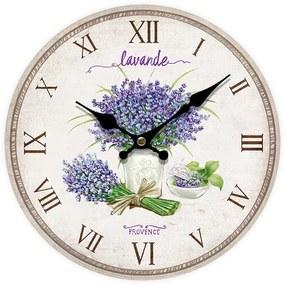 Ceas de perete Lavande Provence, diam. 34 cm