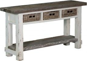 Masa dreptunghiulara din lemn cu 3 sertare 150x40x80 cm alb/gri