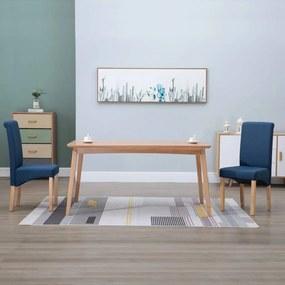 249027 vidaXL Scaune de sufragerie, 2 buc., albastru, material textil