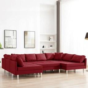 287212 vidaXL Canapea modulară, roșu vin, material textil
