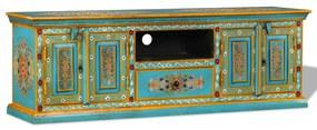 244591 vidaXL Comodă TV, lemn masiv de mango, pictată manual, albastru