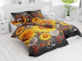 Lenjerie de pat din bumbac din 7 piese Floarea-soarelui neagră