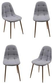 Set 4 scaune dining/buctarie MF HANS, Textil, Gri