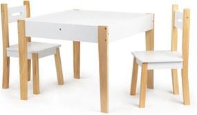 Masă din lemn pentru copii MULTI + 2 scaune